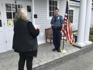 Sergeant Elliott oath of office by Patty Jenks in front of Town Office